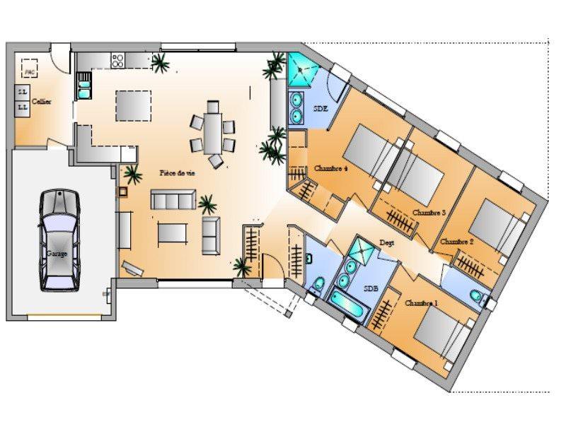 modèle maison 4 chambres