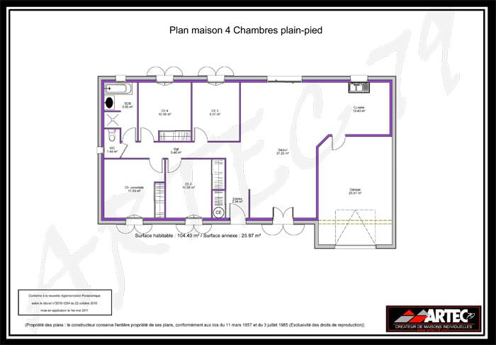 Maison 4 chambres top maison for Plan maison positive