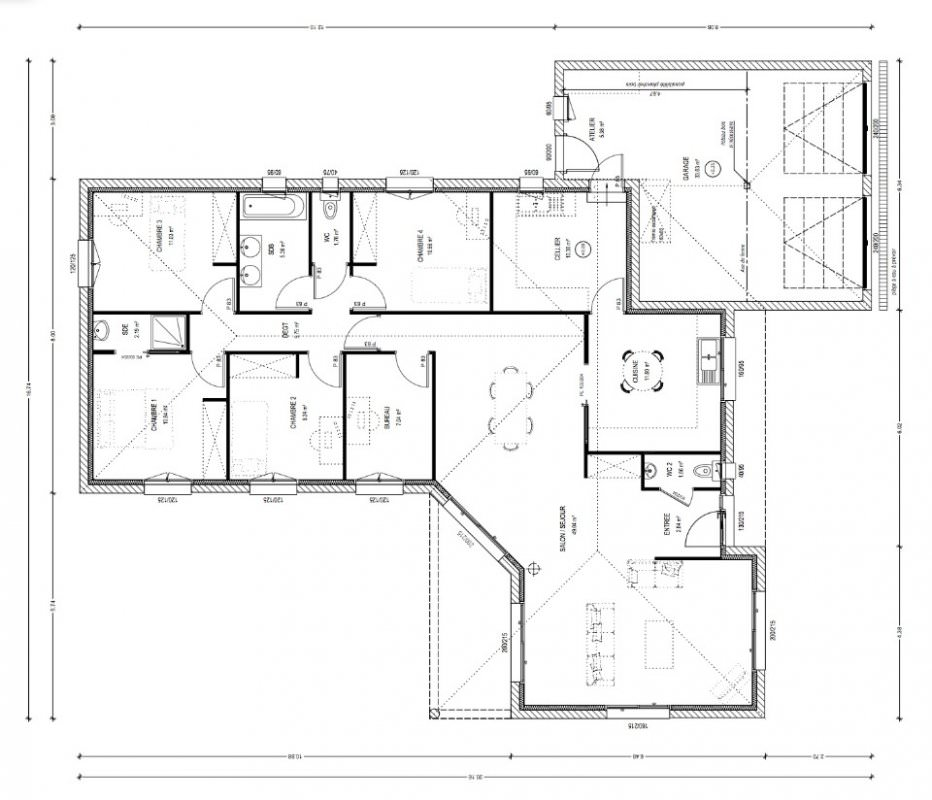 Maison 4 chambres top maison for Plan bungalow 1 chambre