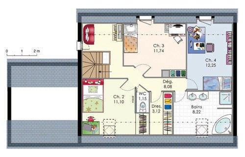 maison 4 chambres ? top maison - Plan Maison Etage 4 Chambres Gratuit