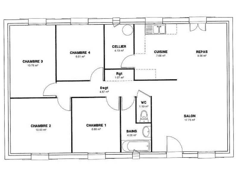 Plan de maison 4 chambres salon for Plan maison simple 4 chambres