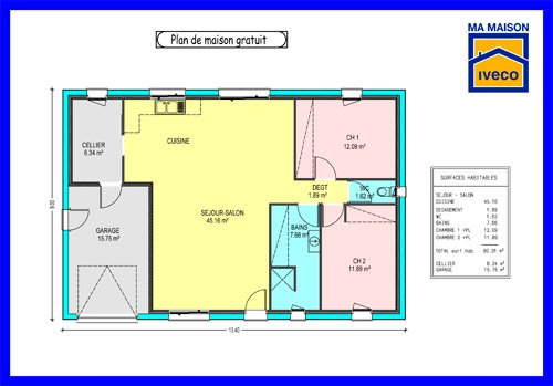 Plan de maison de 70m2 plain pied for Plan maison 80m2