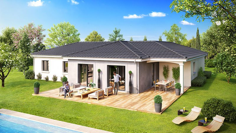 Maison plain pied top maison for Plan de maison plain pied 100m2