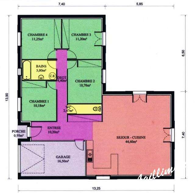 Maison 110m2 top maison for Plan maison plain pied 110m2
