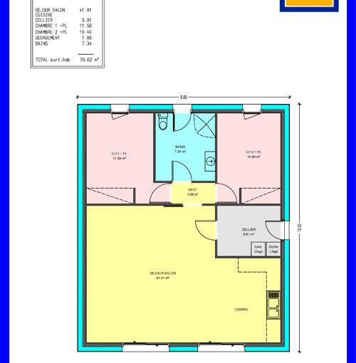 illustration maison 2 chambres