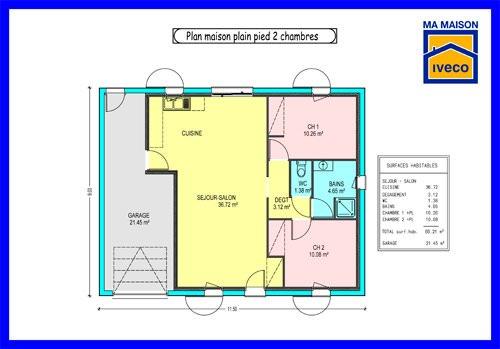 modèle maison 2 chambres