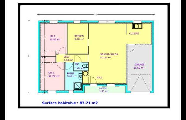 visualiser maison 2 chambres