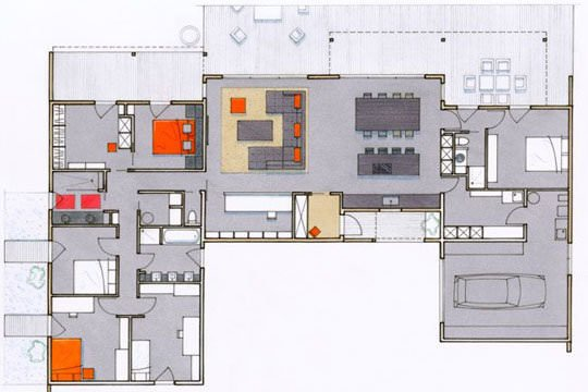 plan maison contemporaine 200 m2