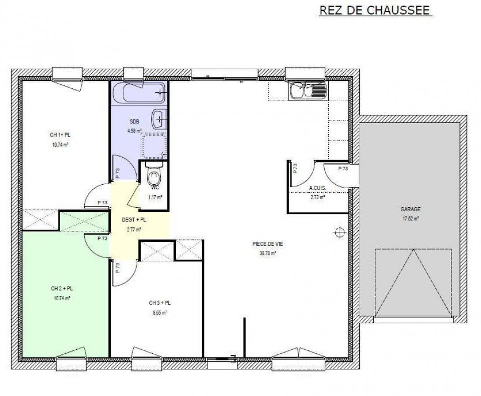 Maison 4 pi ces top maison - Plan de maison 2 pieces ...