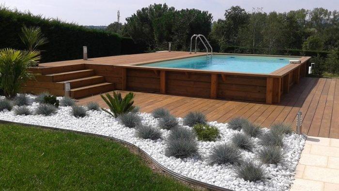 superbe piscine hors sol bois