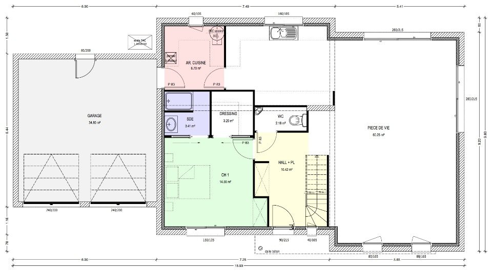 Plan maison 140m2 4 chambres for Maison contemporaine 140m2