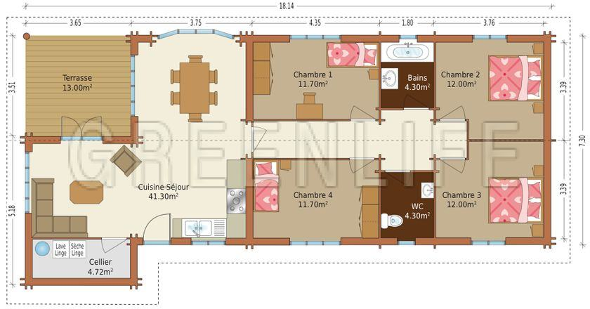 modèle maison 140 m2