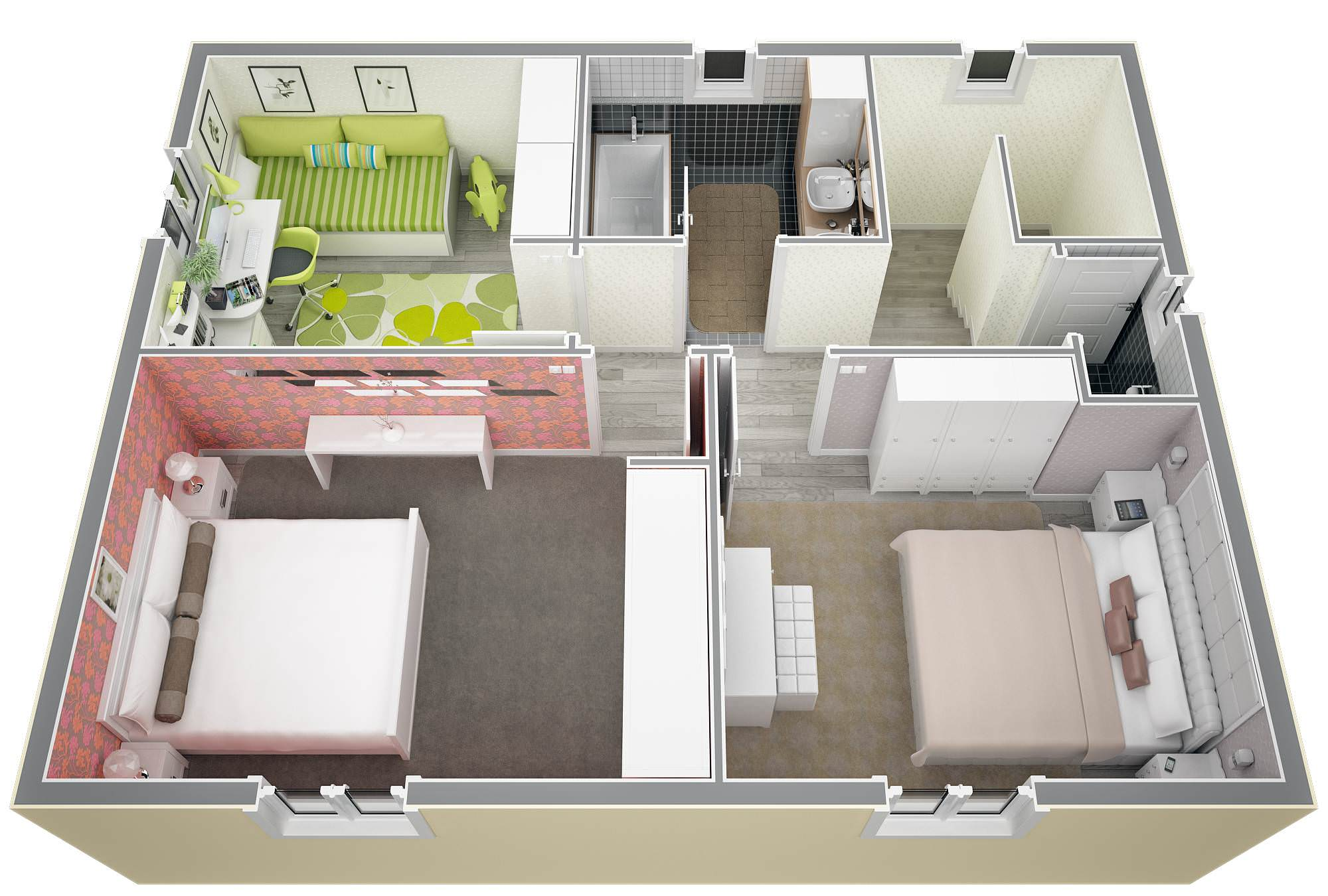 Maison 40m2 top maison for Plan de maison 2 chambres salon cuisine douche
