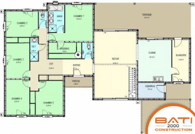 Plan maison moderne plain pied 5 chambres for Plan maison positive