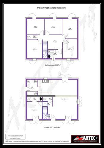 modèle maison 6 chambres plan