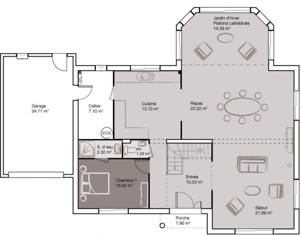 exemple maison 6 chambres plan