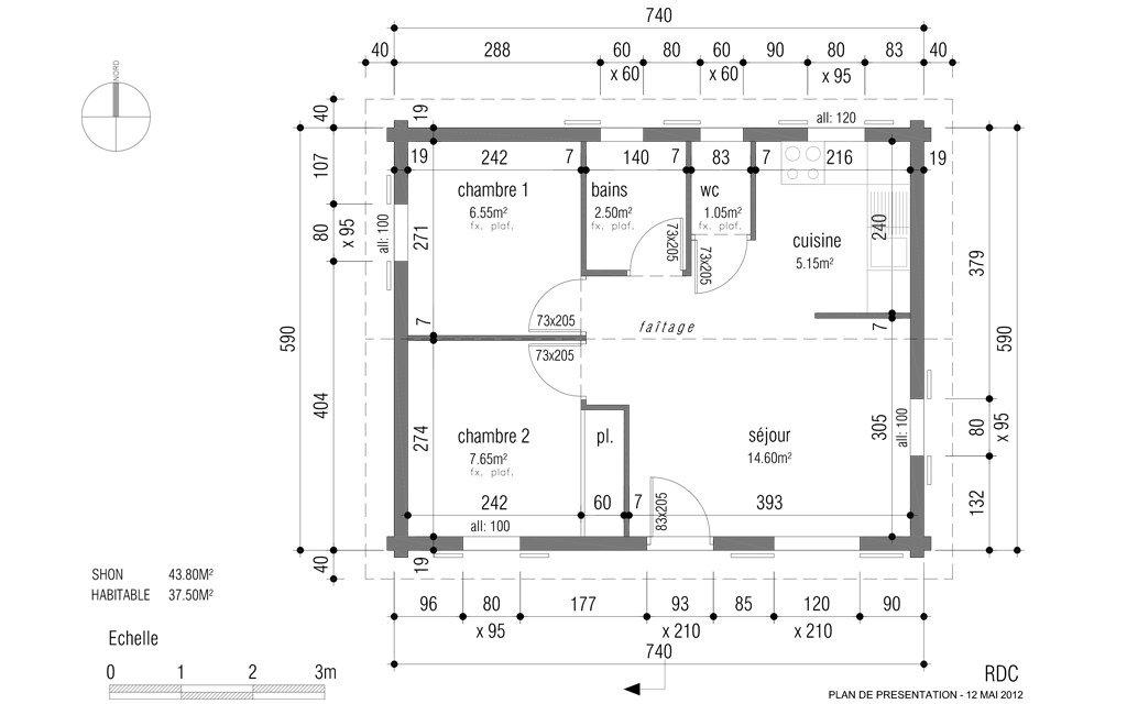 plan amenagement maison 60m2
