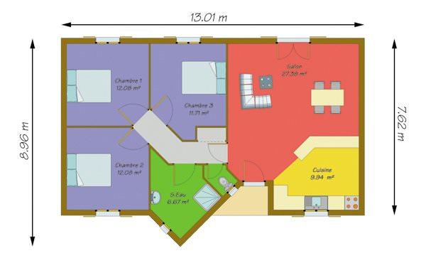 modèle maison 95m2