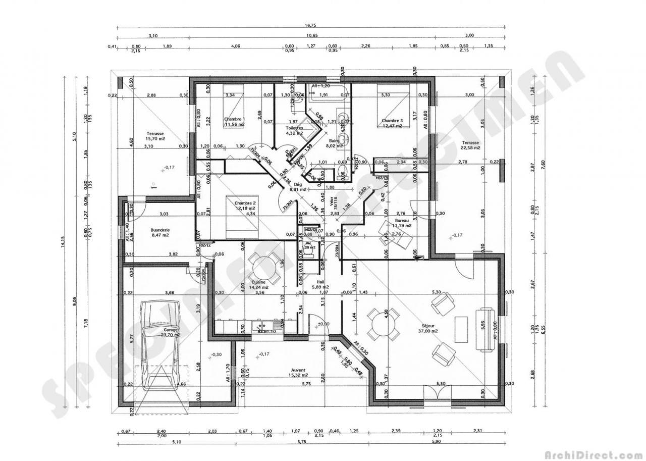 Un plan de maison 150m2 for Plans de maison services d architecture