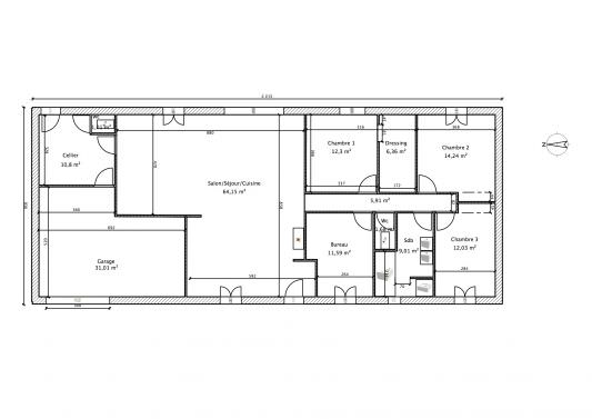 plan maison contemporaine 150 m2