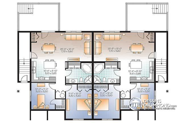 Plan maison 2 appartements for Plan de maison 2 chambres salon cuisine douche