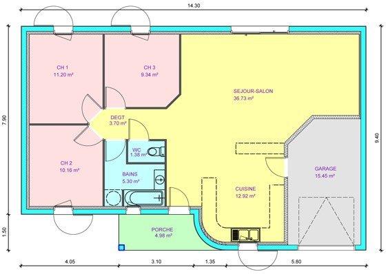 illustration maison 3 chambres
