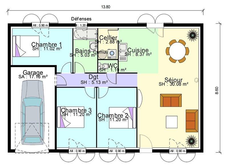 idée maison 3 chambres