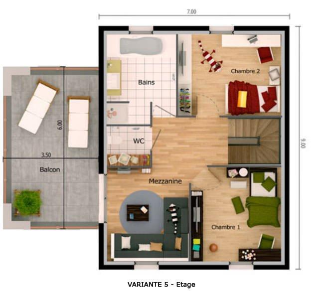 Plan Petite Maison 2 Chambres 3d