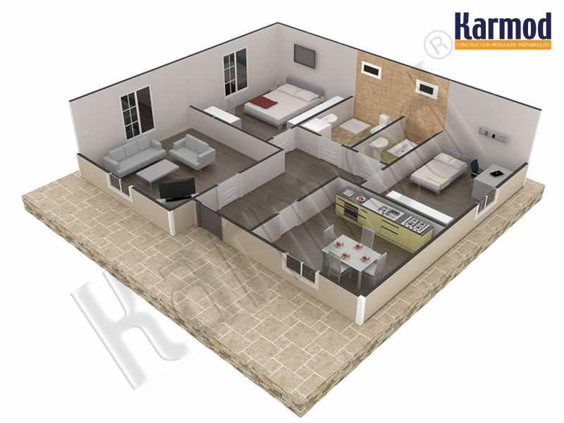 modèle maison 75 m2