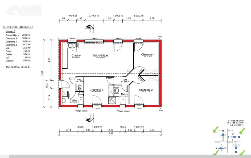 Maison 75 m2 top maison for Plan de comble amenageable