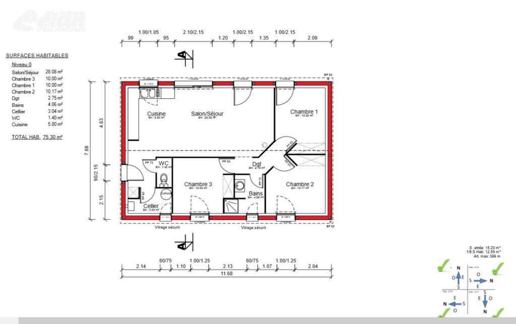 exemple maison 75 m2