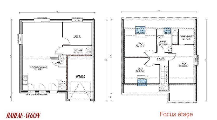 Plan de maison 85 m2 for Modele maison 85 m2