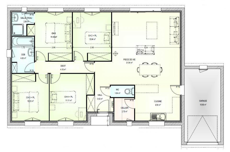 Plan de maison 3 chambres une grande maison de plainpied for Plan maison contemporaine 3 chambres