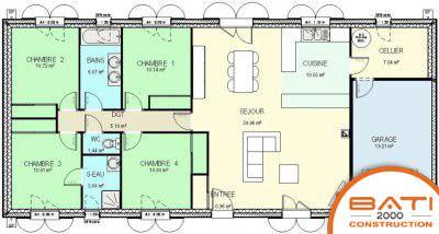 modèle plan maison 4 chambres
