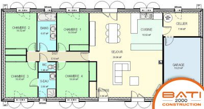 exemple plan maison 4 chambres