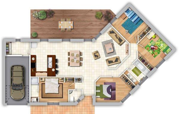 photographie plan maison 4 chambres