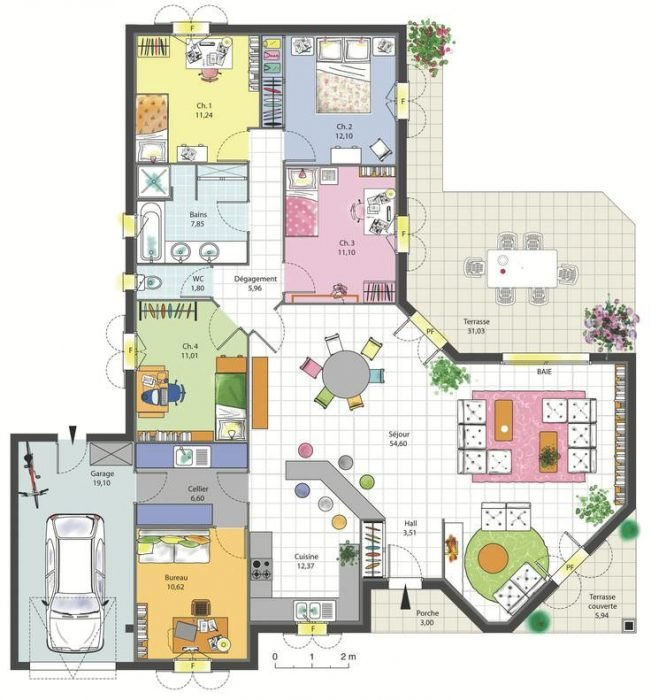 visualiser plan maison 4 chambres