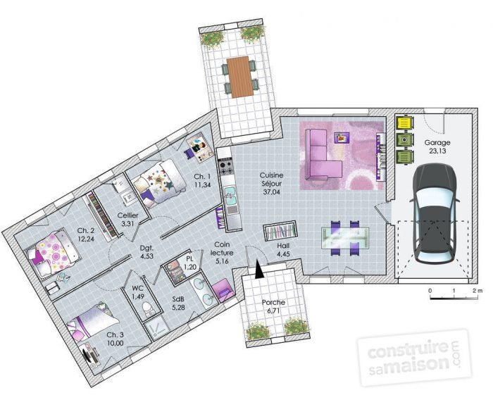 illustration plan maison contemporaine