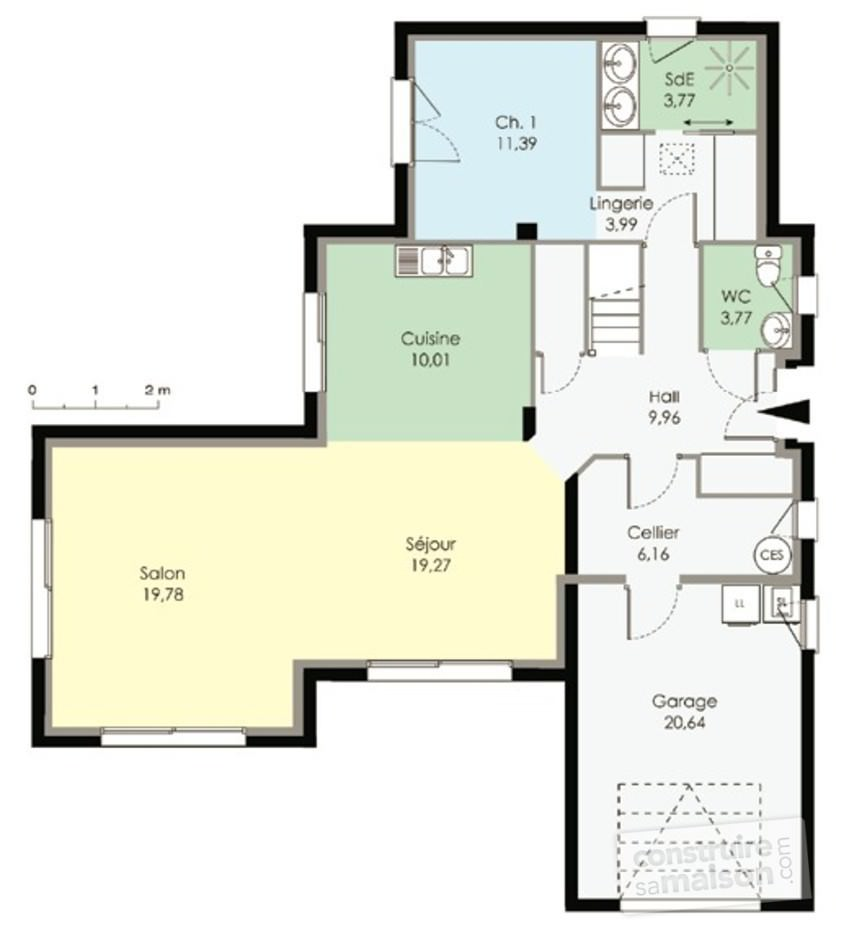 image plan maison contemporaine