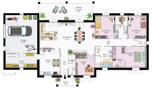 exemple plan maison contemporaine