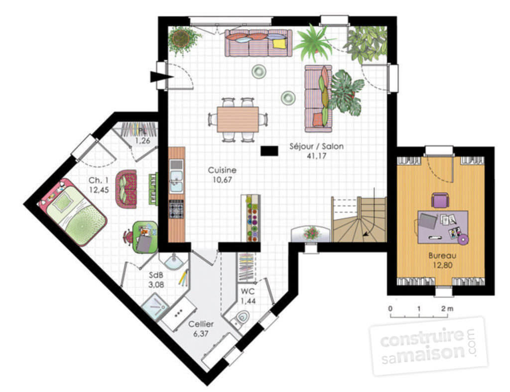 illustration plan maison moderne