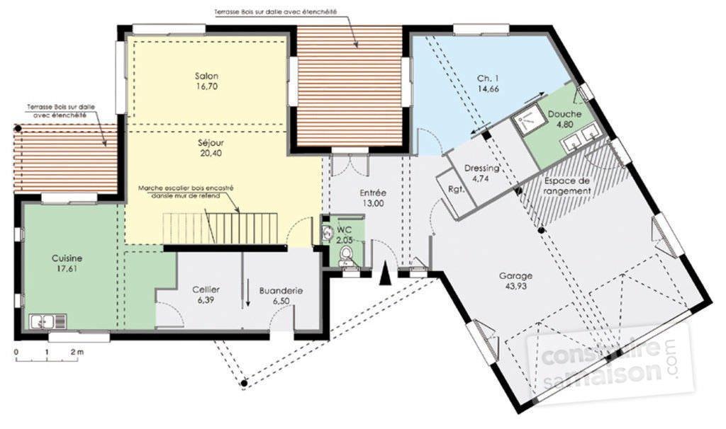 photo plan maison moderne - Plan Maison Contemporaine En L