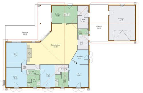 plan maison plain pied 5 chambres gratuit