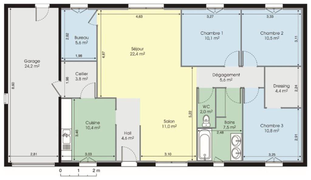 superbe plan maison plain pied