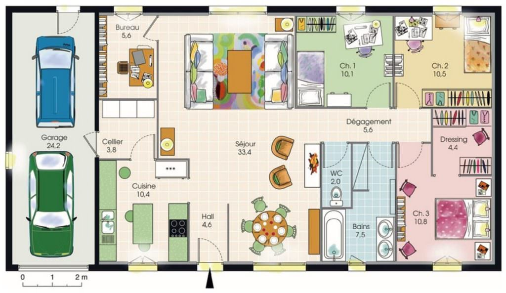 photo plan maison plain pied