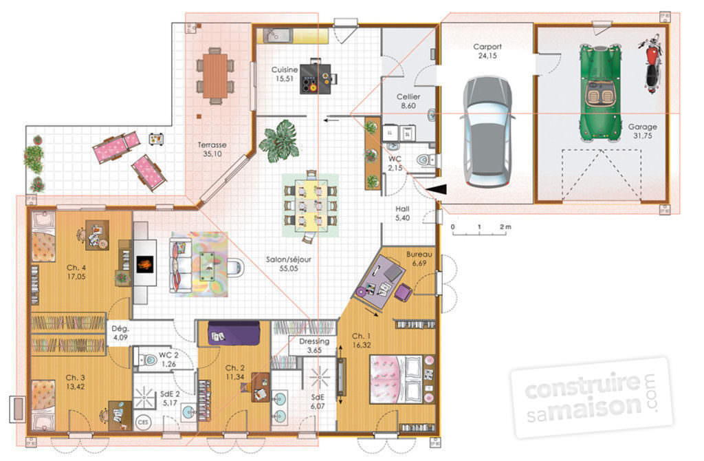 visualiser plan maison plain pied