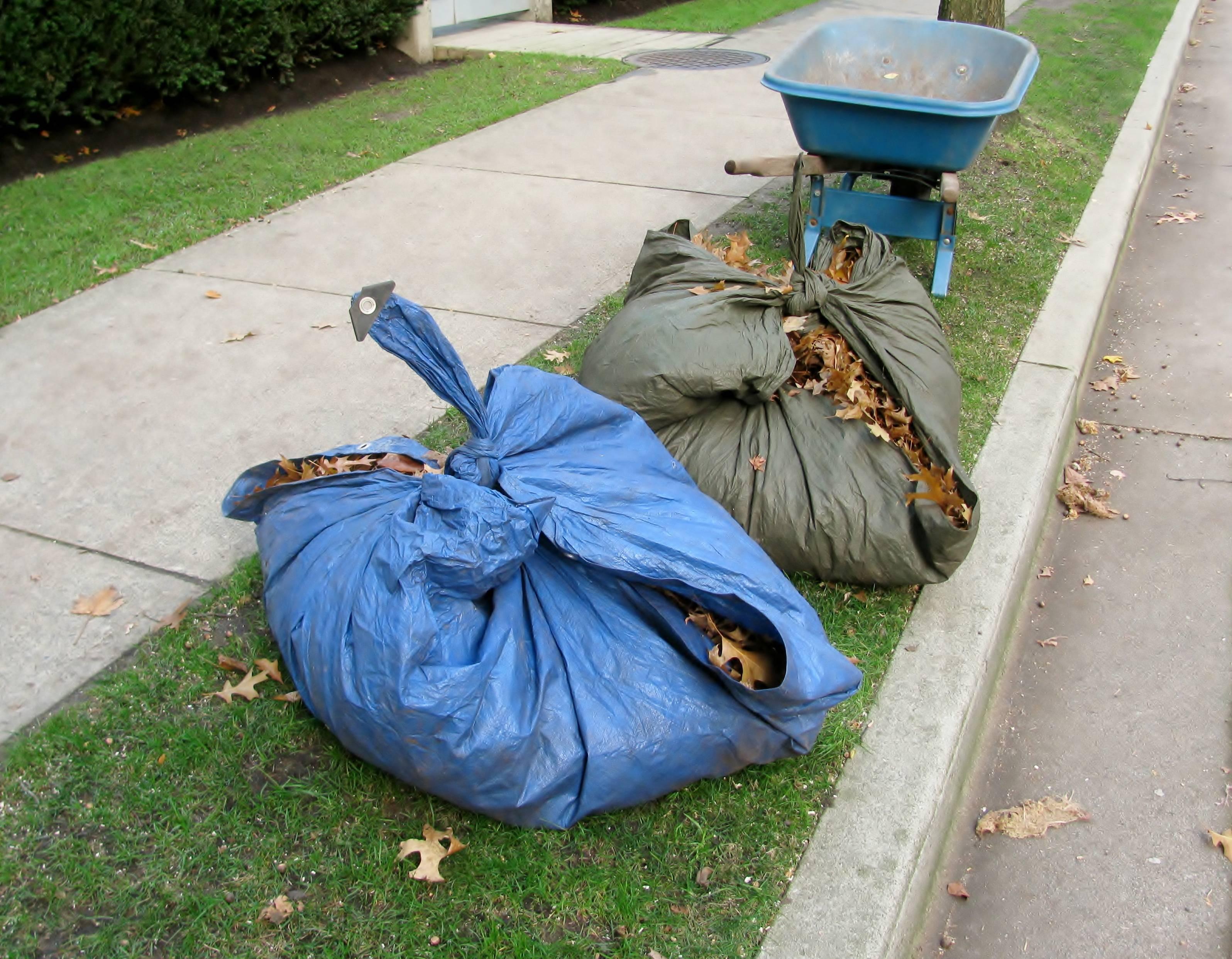 bâche de ramassage de déchets verts
